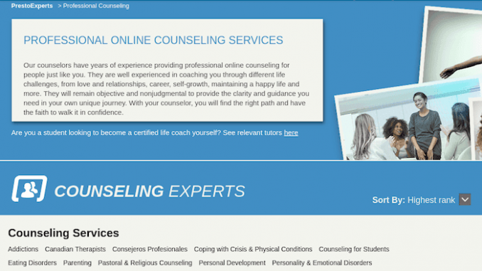 PrestoExperts is a professional online counseling service