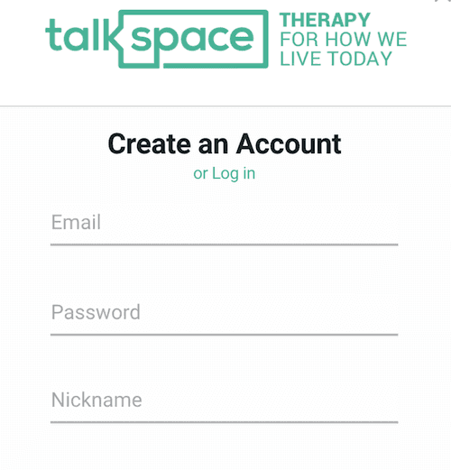 Create a secure account at Talkspace