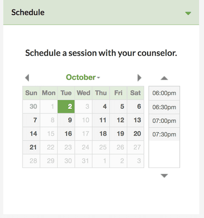 Schedule an appointment with your therapist